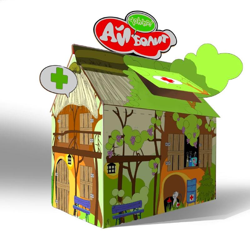 домик раскраска из картона классика со съемным декором айболит